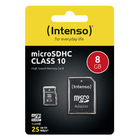Intenso microSDHC 8 GB Class 10 + SD Adapter